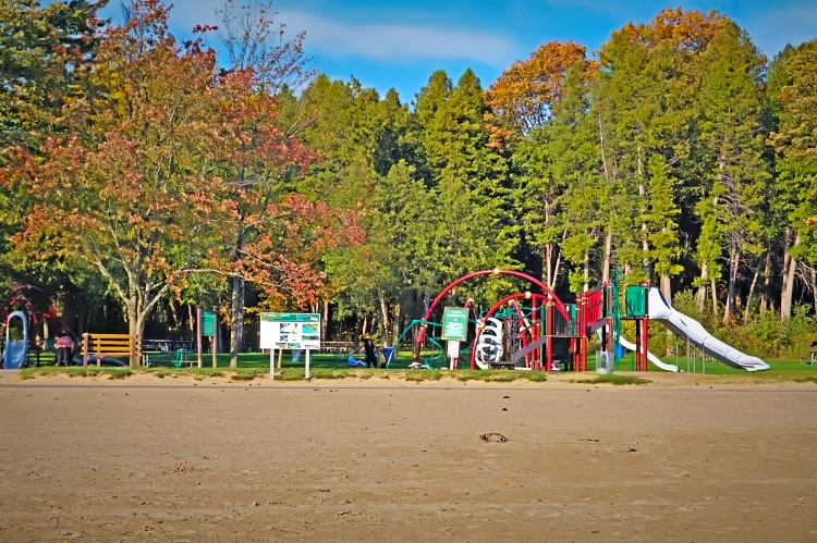 Beach and the playground area.