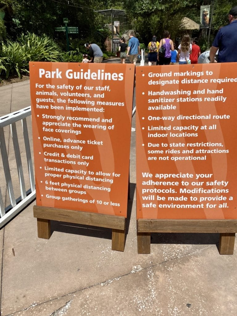 Guidelines posted during COVID-19 in Jacksonville Zoo and Gardens