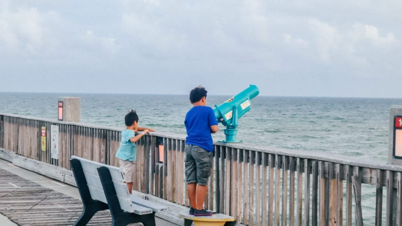 Boys on fishing pier in Pensacola