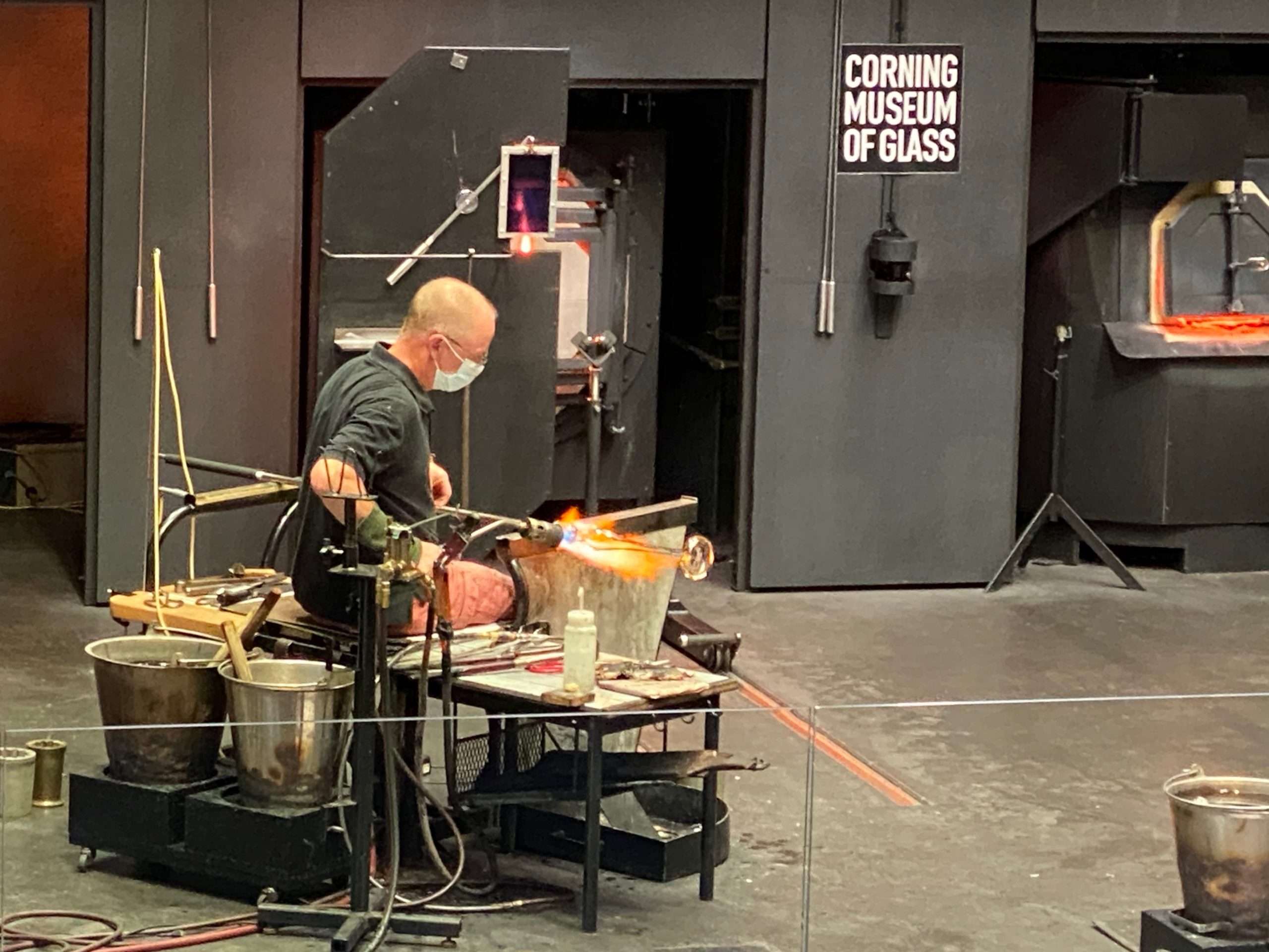 Glassblowing demonstration at the Corning Museum of Glass near Watkins Glen, NY