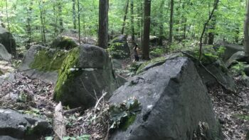 hiking over boulders in NJ