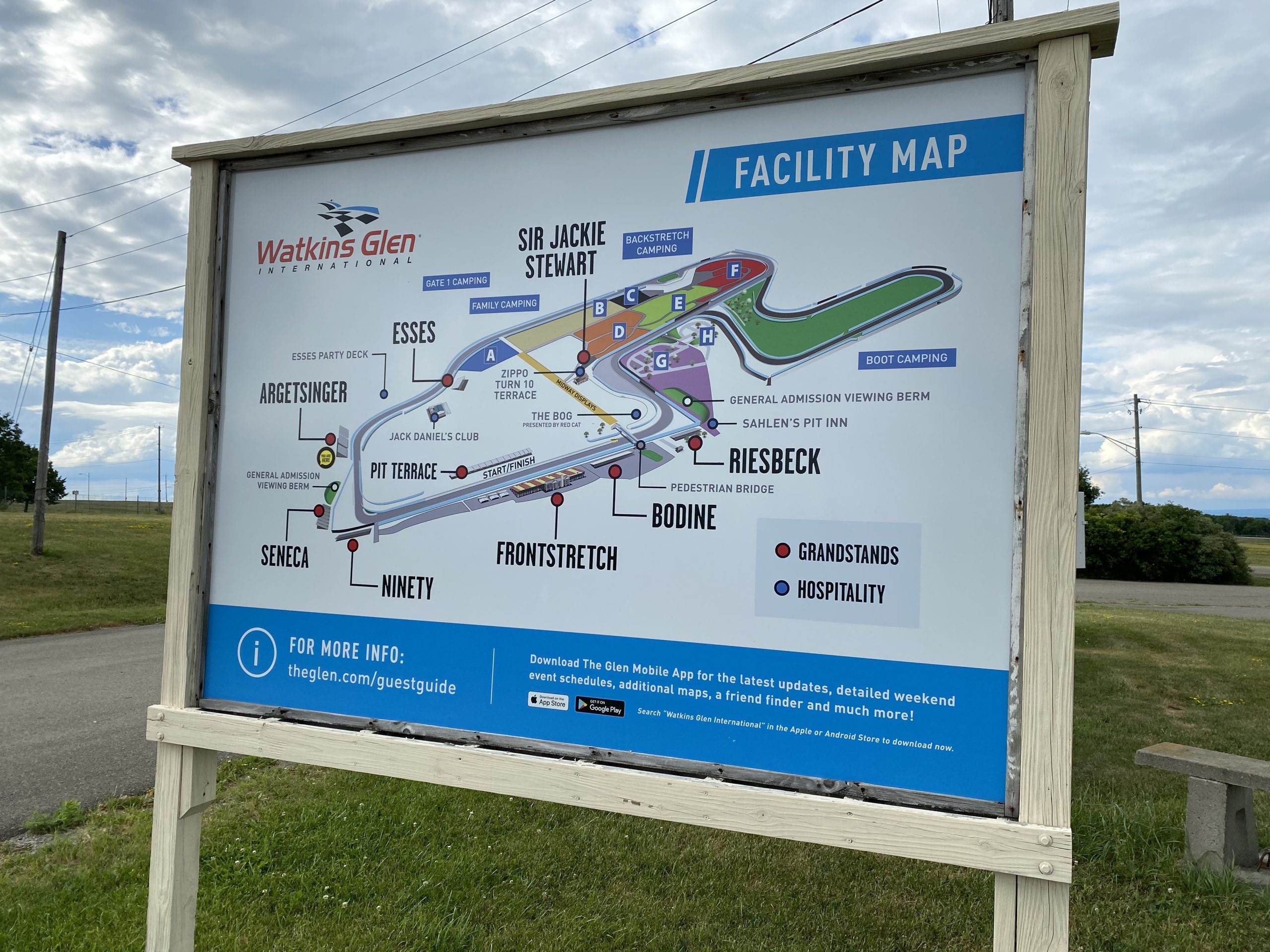 Facility map at the Watkins Glen Internation Speedway