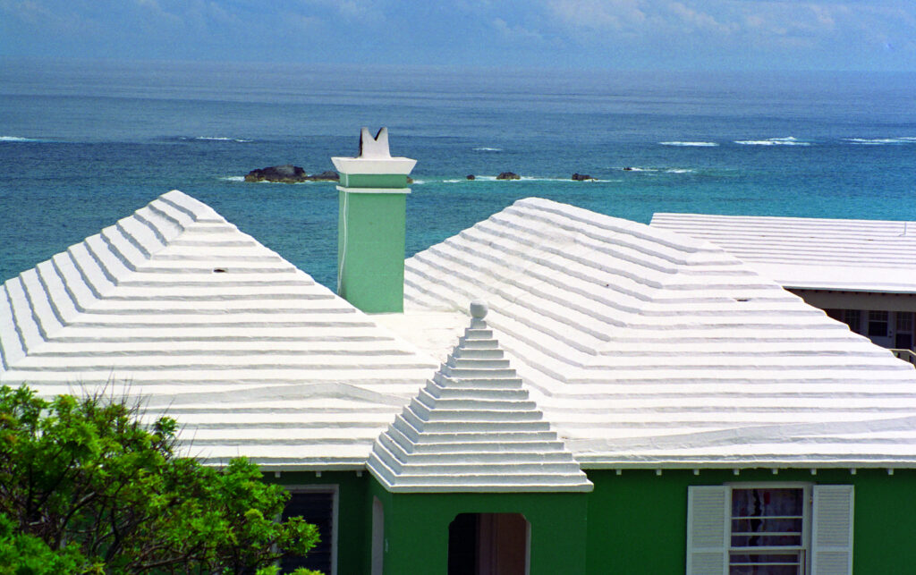 The roof of a house near the beach in Bermuda.