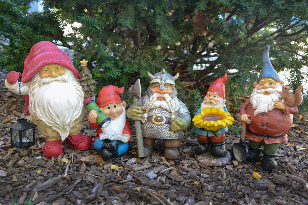 Several of the 24 whimsical gnomes placed throughout Brookfield Zoo's Holiday Magic event.