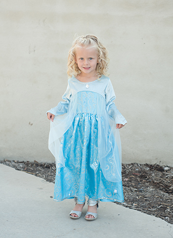 Little girl in an Elsa Disney play dress
