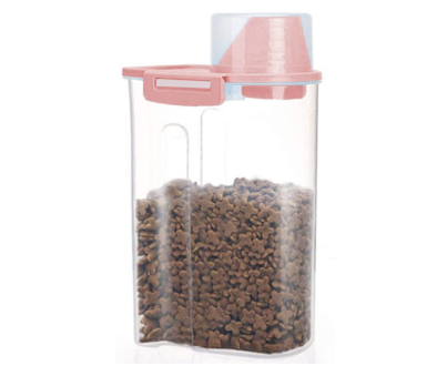 Easy to store travel container for dog food when you're in an rv with a dog
