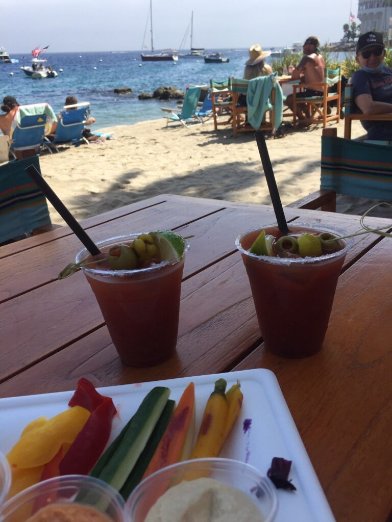 Drinks and the view at the Descanso Beach Club, one of the fun things to do on catalina island