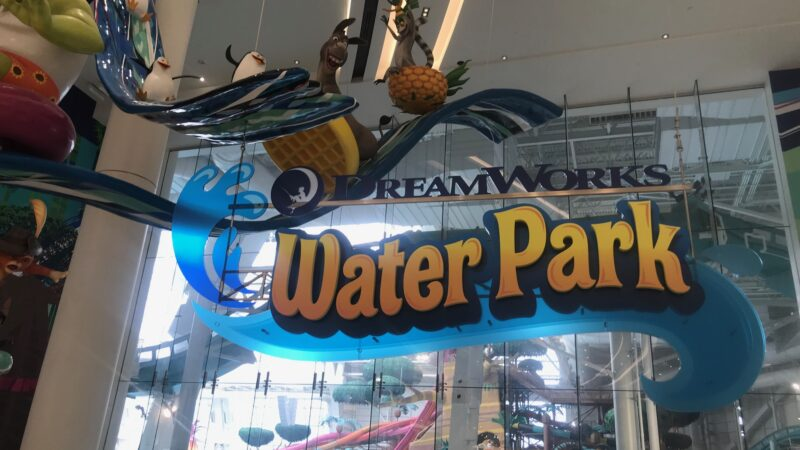 The sign for the Dreamworks water park at American Dream New Jersey.