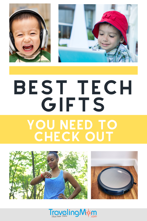 child wearing headphones, child on tablet, woman checking Fitbit, and robot vacuum cleaner with the words best tech gifts you need to check out