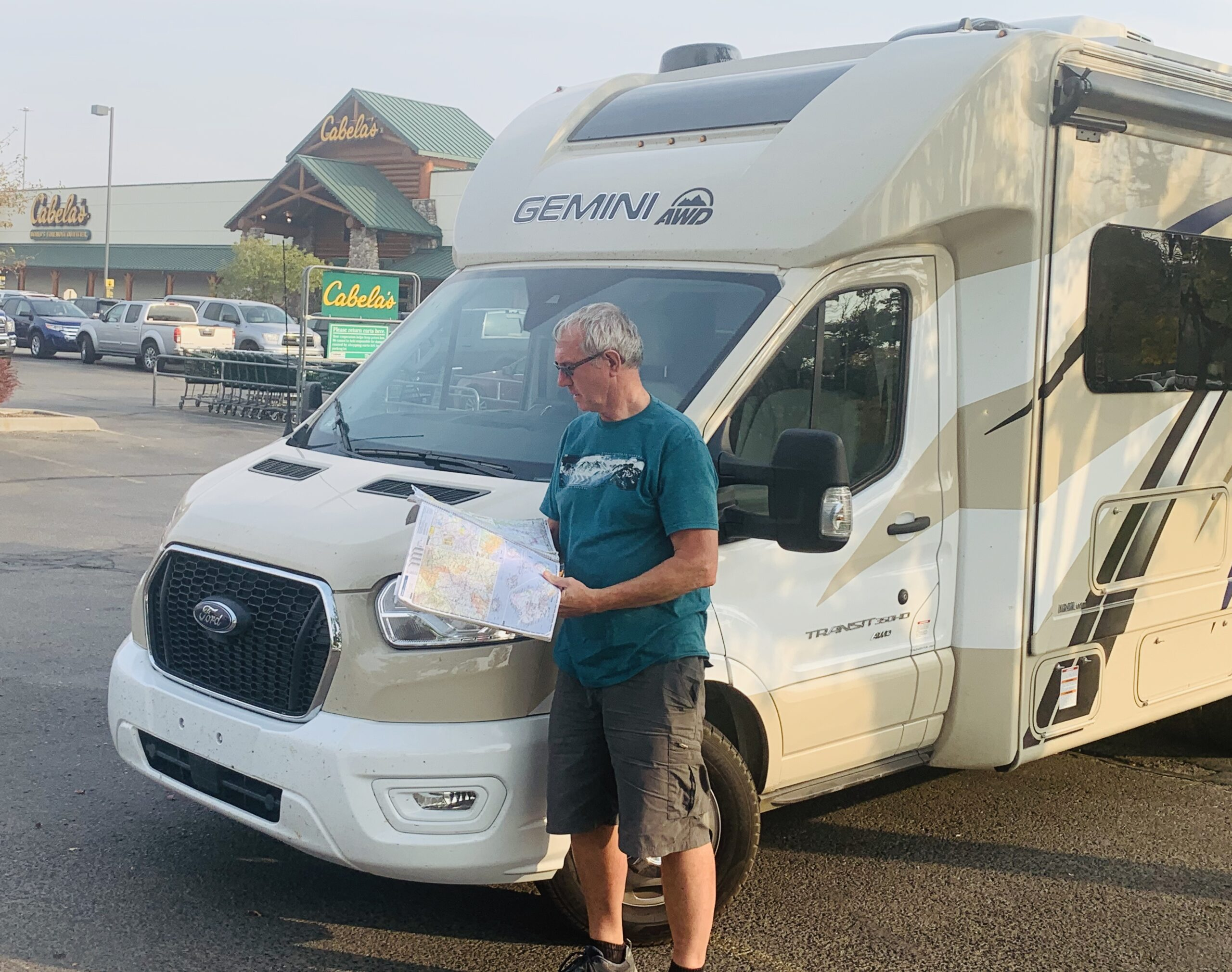 boondocking RV in a Cabela's parking lot