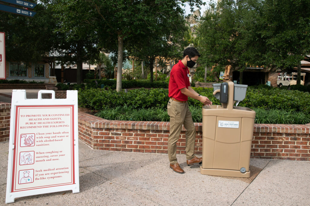 Hand washing stations are located throughout Disney Springs.
