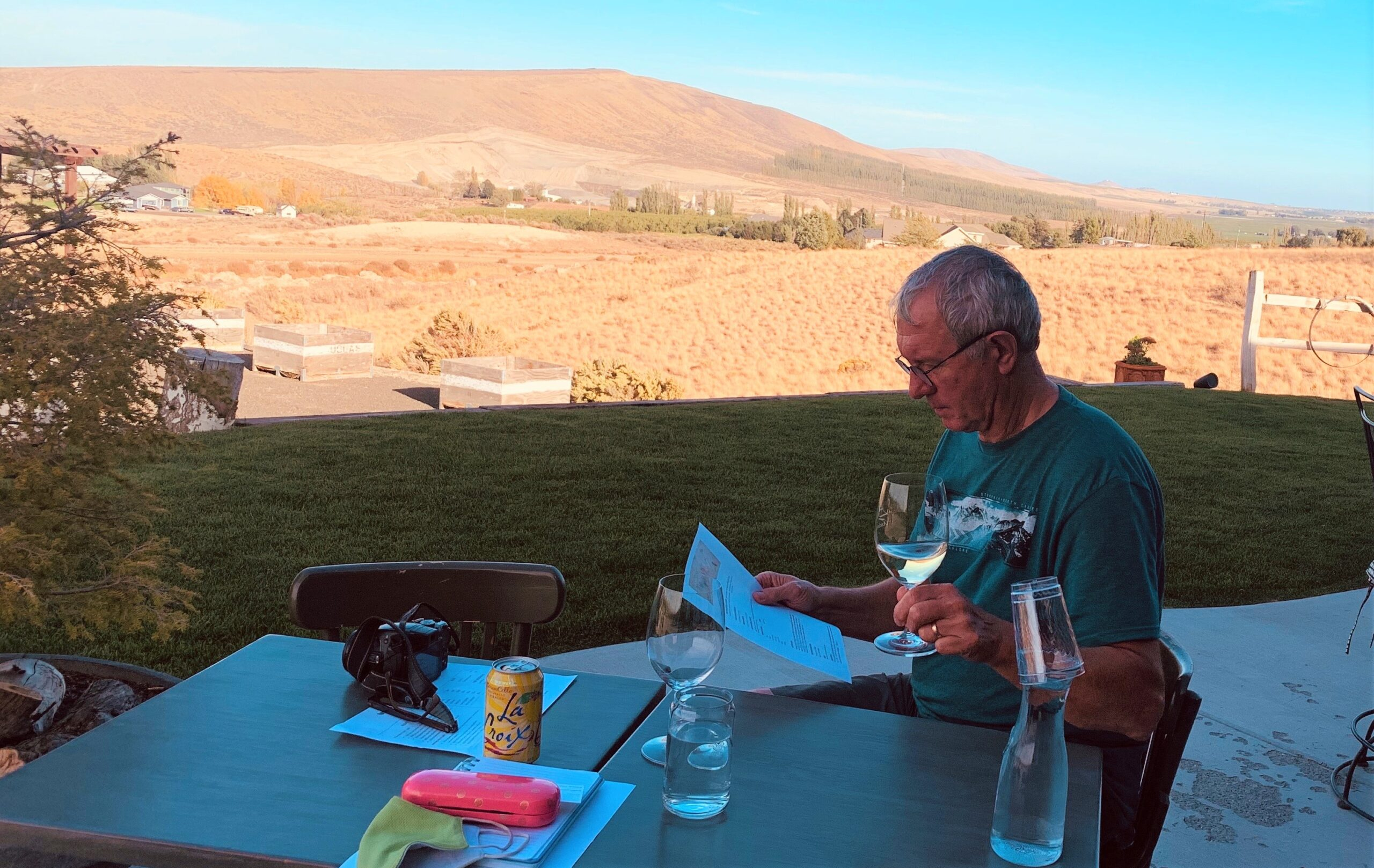 man drinking wine at a Harvest Hosts member winery