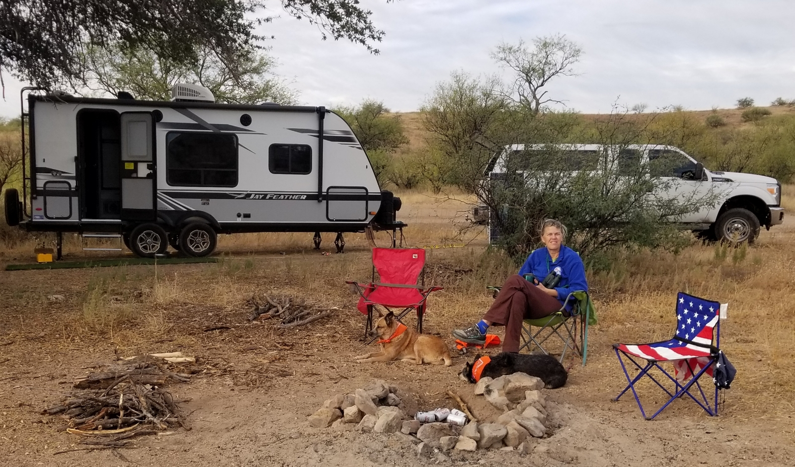 woman boondocking in Arizona