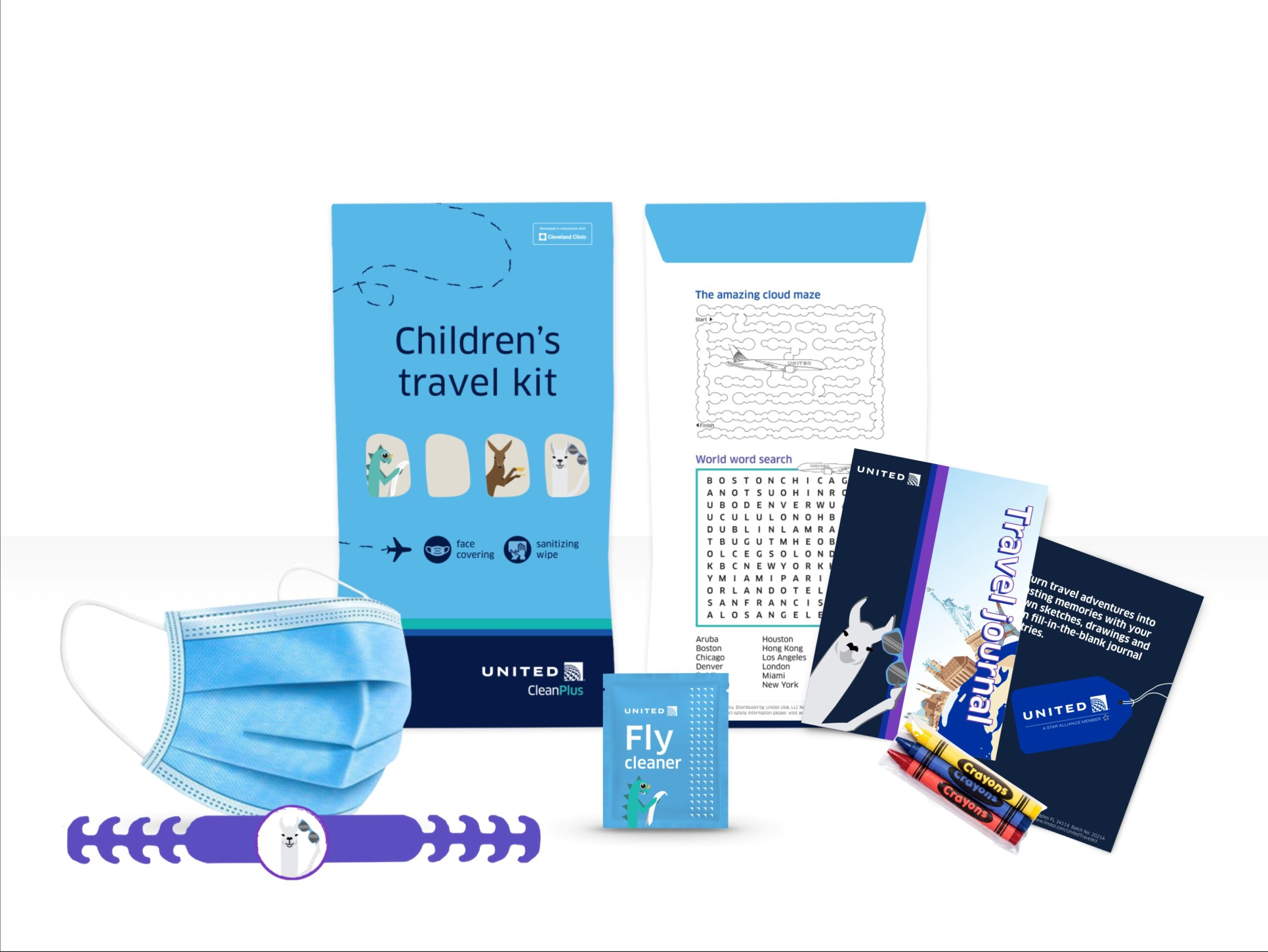 United Airlines childrens activity kit including Mask with mask sizer to adjust the fit to the child's head Visual instructions on how to wear mask and sizer with a friendly message to parents/guardians Travel journal activity book with crayons Sanitizing wipe Eco-friendly, recyclable paper bag