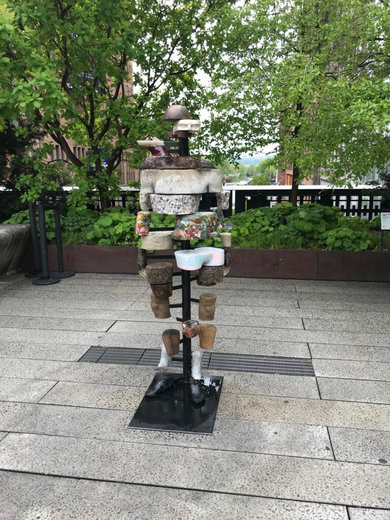 A sculpture on The High Line in NYC, a public park that doubles as an outdoor art museum