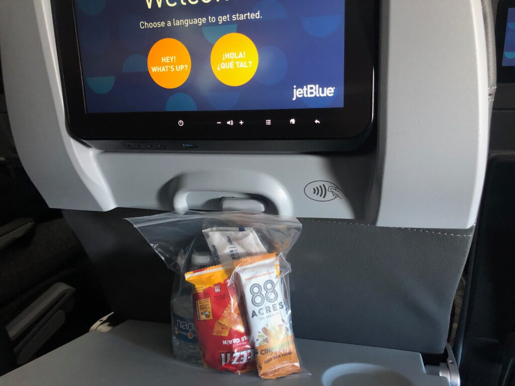 Pre-packaged snack bag distributed on JetBlue flight. Is flying safe now?
