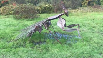 A praying mantis sculpture at the Park Hill Orchard sculpture garden, an outdoor museum in Massachusetts.