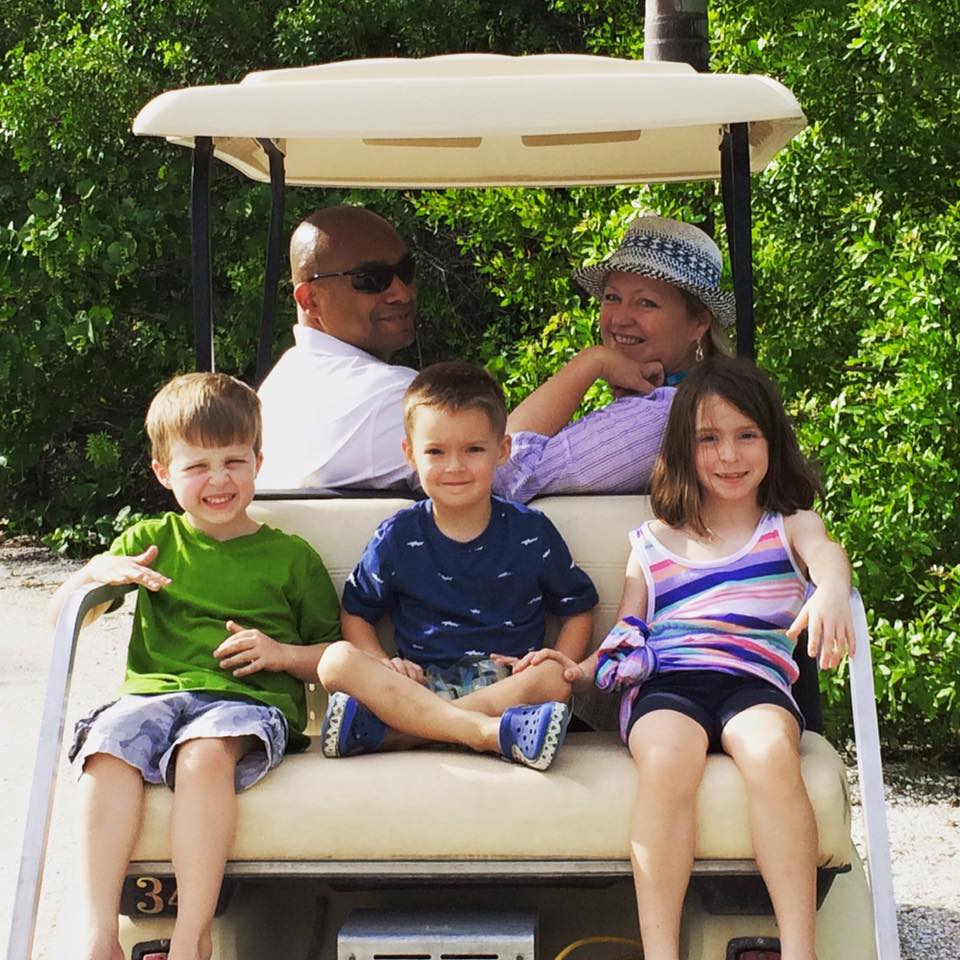 Golf cart fund with the grandkids on Palm Island