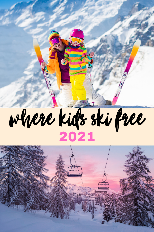 kids ski free 2021 top image two kids with bright outfits and skis, bottom image chairlift and snowy pines against a sunset sky