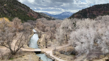 Winter hiking at Rifle Falls State Park in Colorado