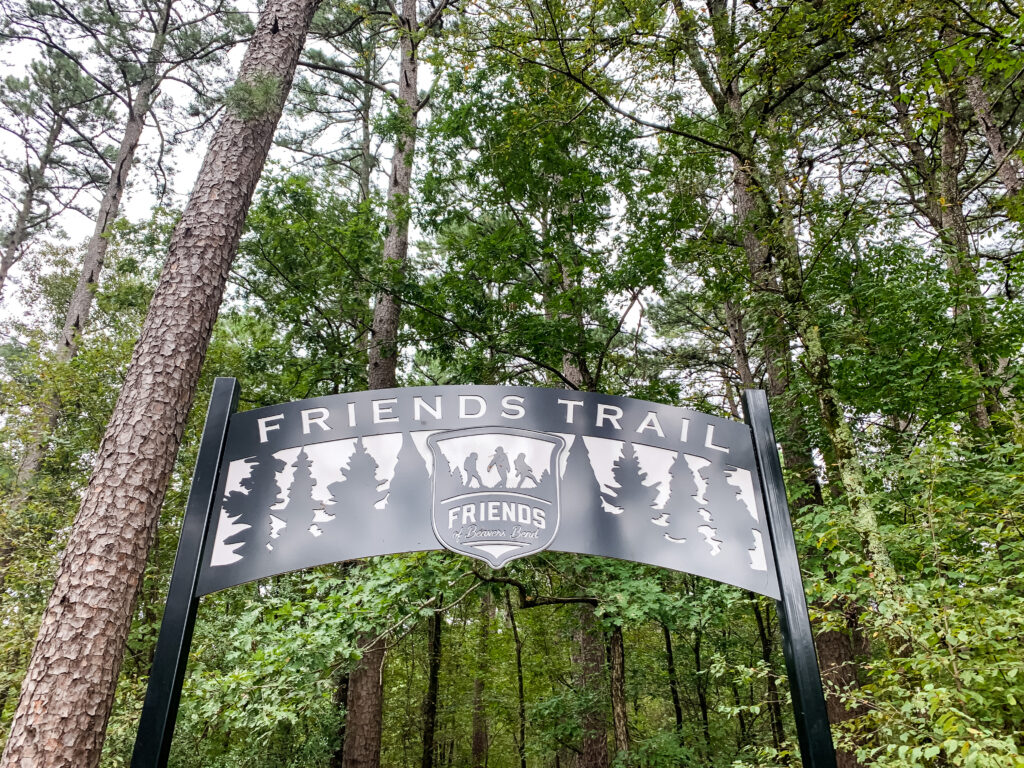 The entrance sign at the Friends Trail in Beavers Bend State Park in Oklahoma