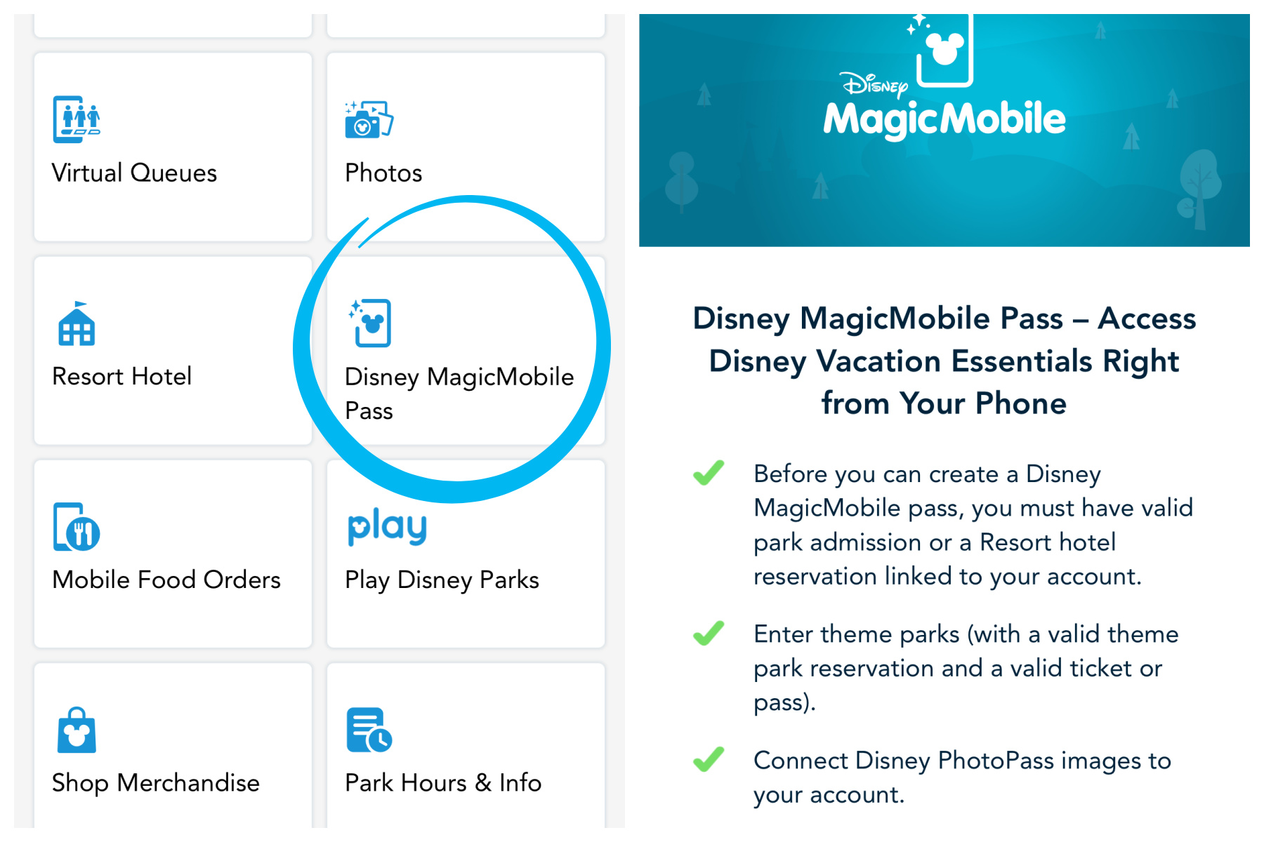 screenshots of My Disney Experience Magic Mobile instructions