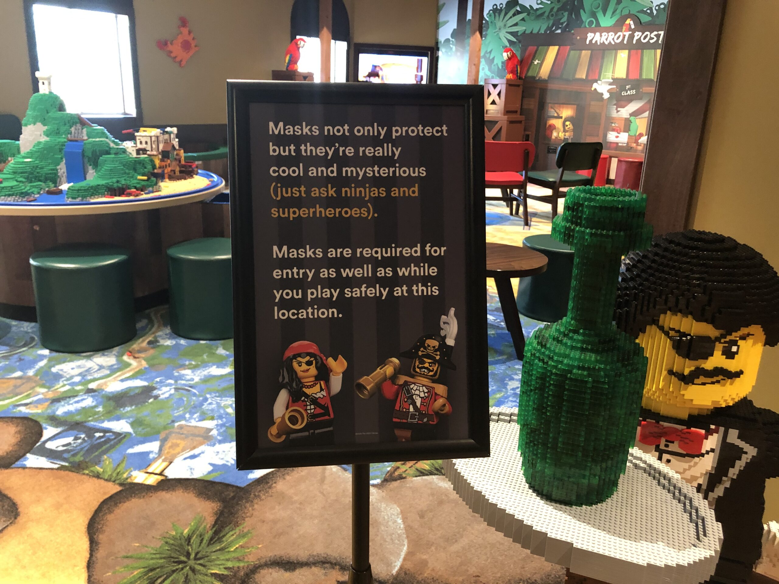 Masks are required at the LEGOLAND Pirate Island Hotel.