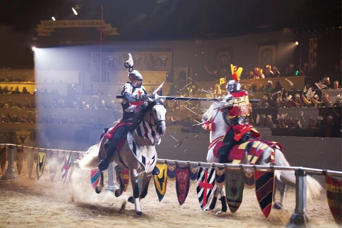 Knights jousting at Medieval Times, one of the best things to do in Dallas with kids.