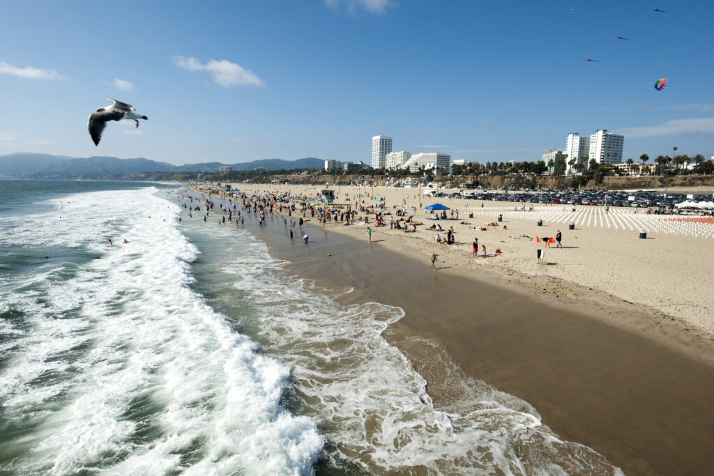 Santa Monica beach coast, a fun place to visit with baby in LA