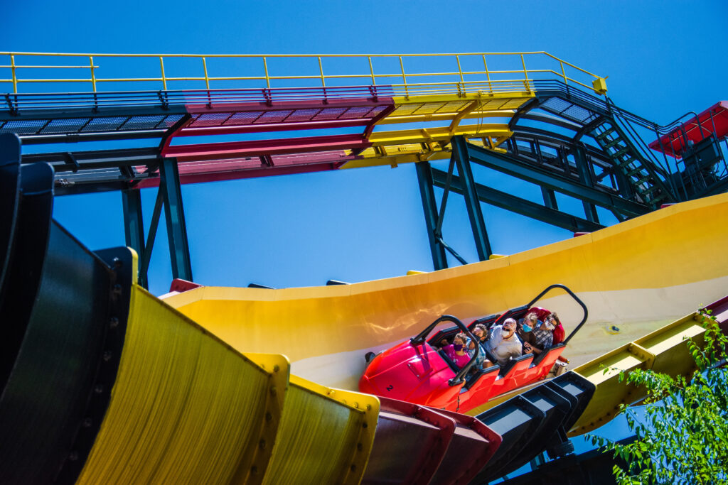 La Vibora is a steel bobsled roller coaster at Six Flags Over Texas, one of the best things to do in Dallas with kids.