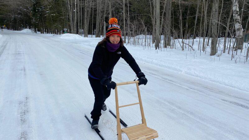 Womkick sledding at Peninsula State Park in Door County in the winter