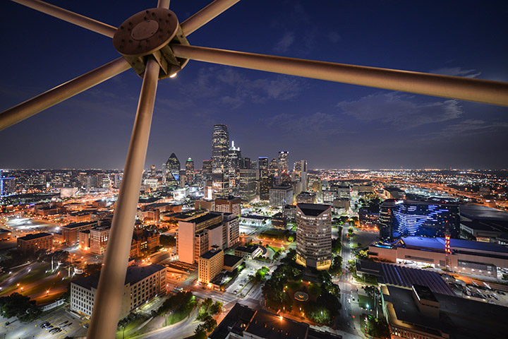 The view from the Reunion Tower GeO-Deck, one of the best things to do in Dallas with kids.