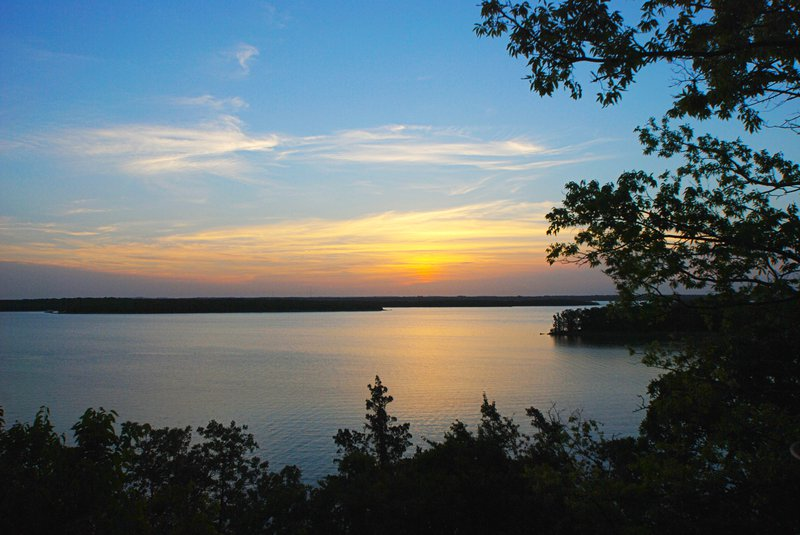 Sunset over Lake Murray, one of the things to see in Southern Oklahoma