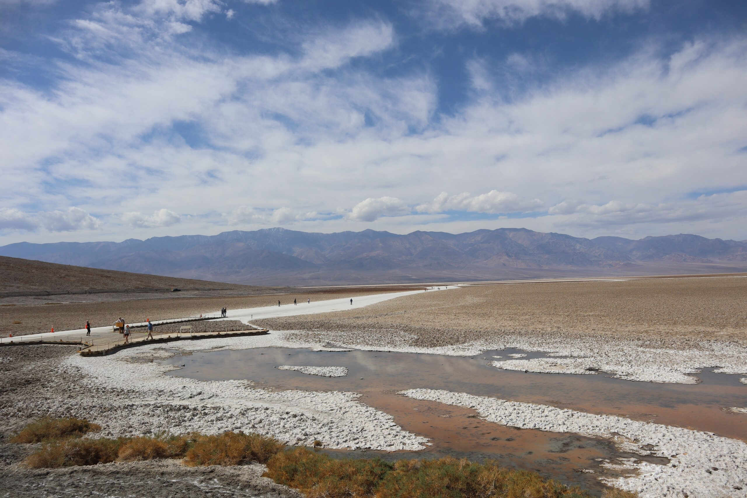 tiny people in a vast landscape in Death Valley National Park