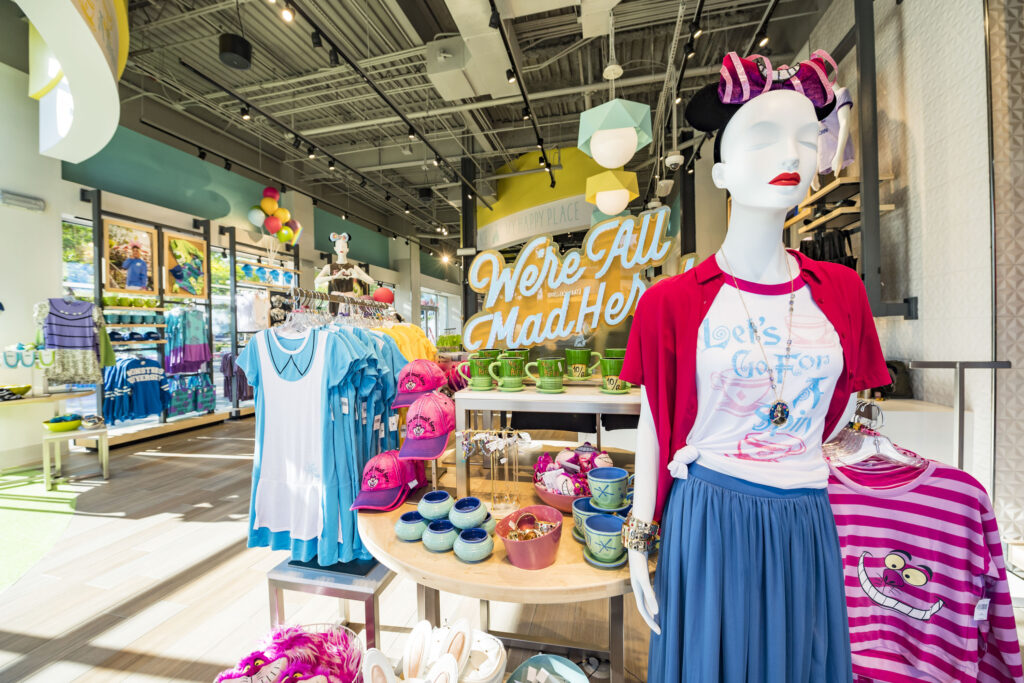 Interior of a clothing store in Disney Springs where military discounts are offered