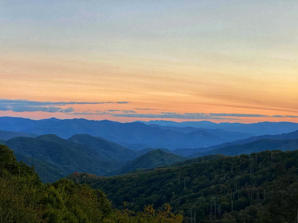 Instagrammable sunset view of Great Smoky Mountains