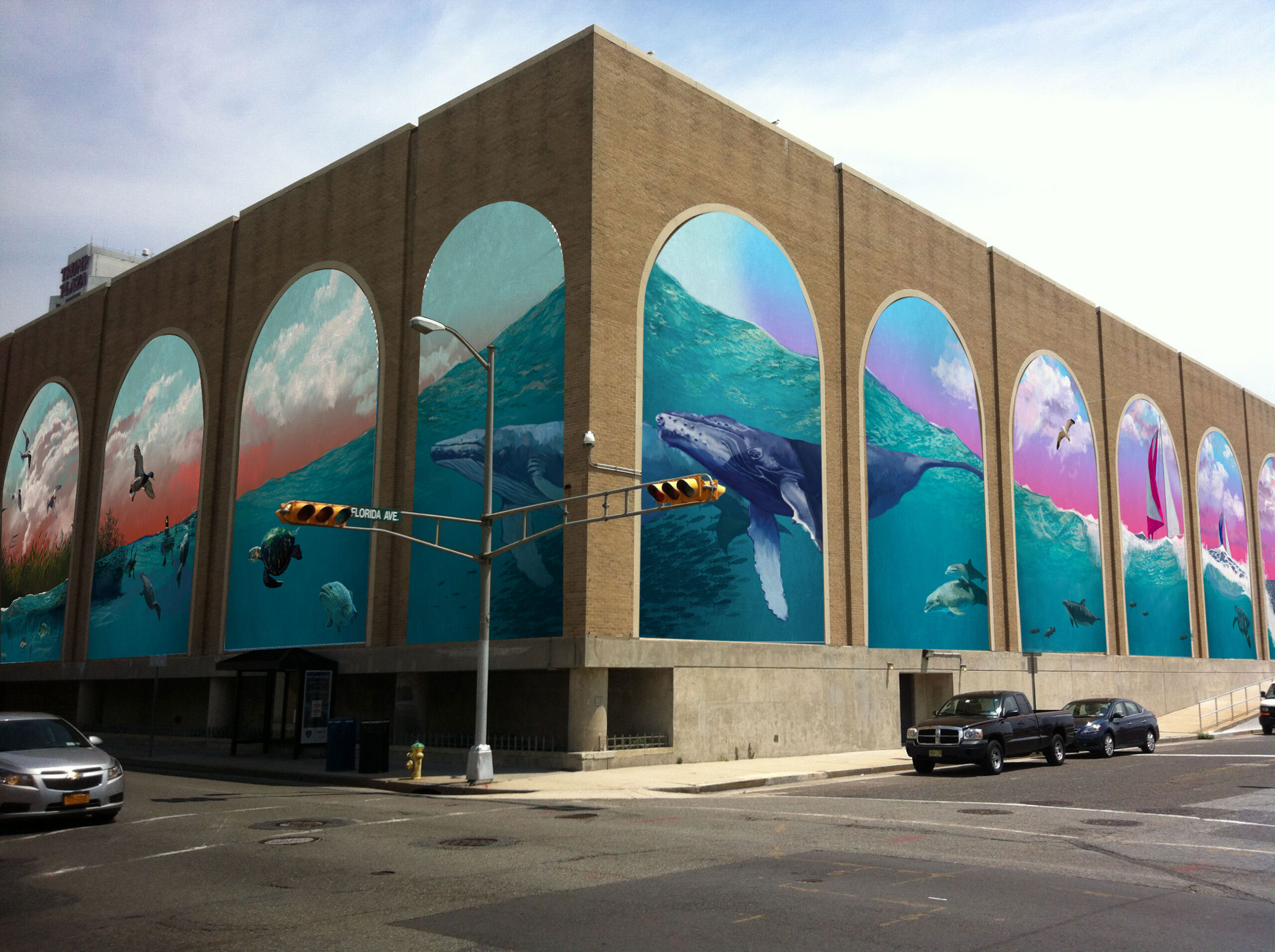 Teal and pink mural on the west side of Boardwalk Hall in Atlantic City, NJ