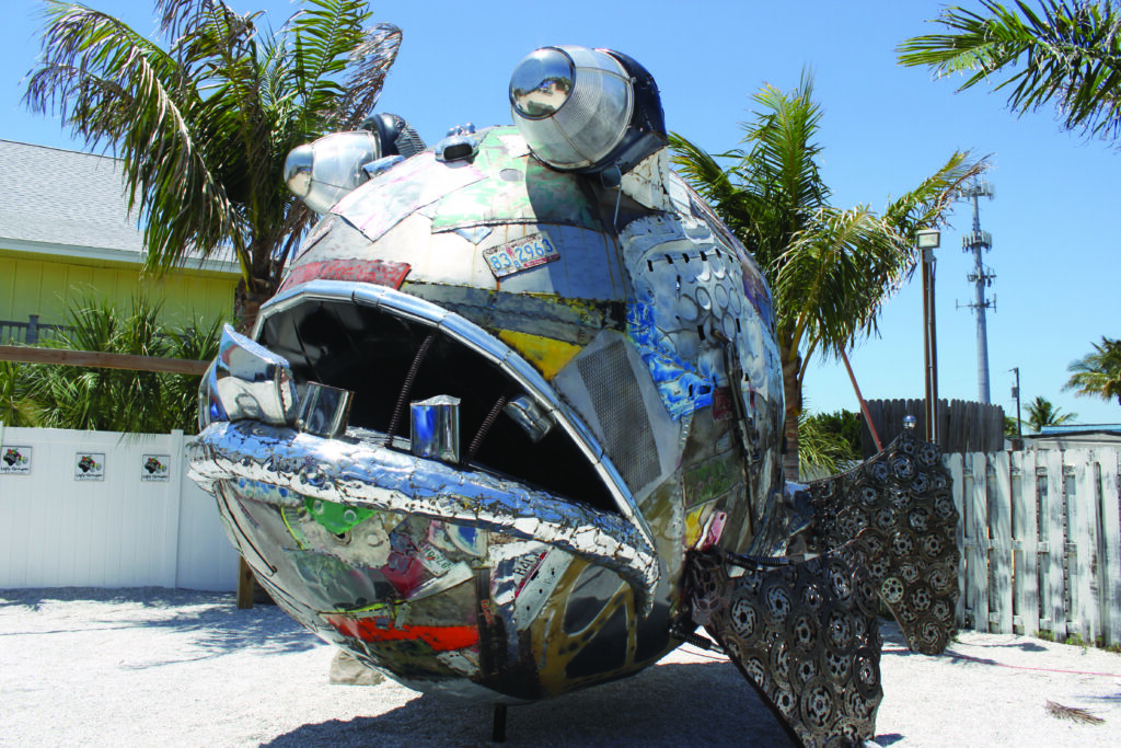 metal fish sculpture at the Ugly Grouper, a kid friendly restaurant in Bradenton FL