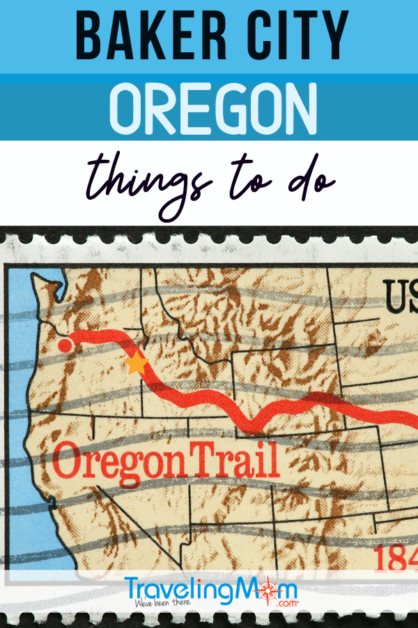 image of oregon trail postage stamp with baker city oregon highlighted by a star