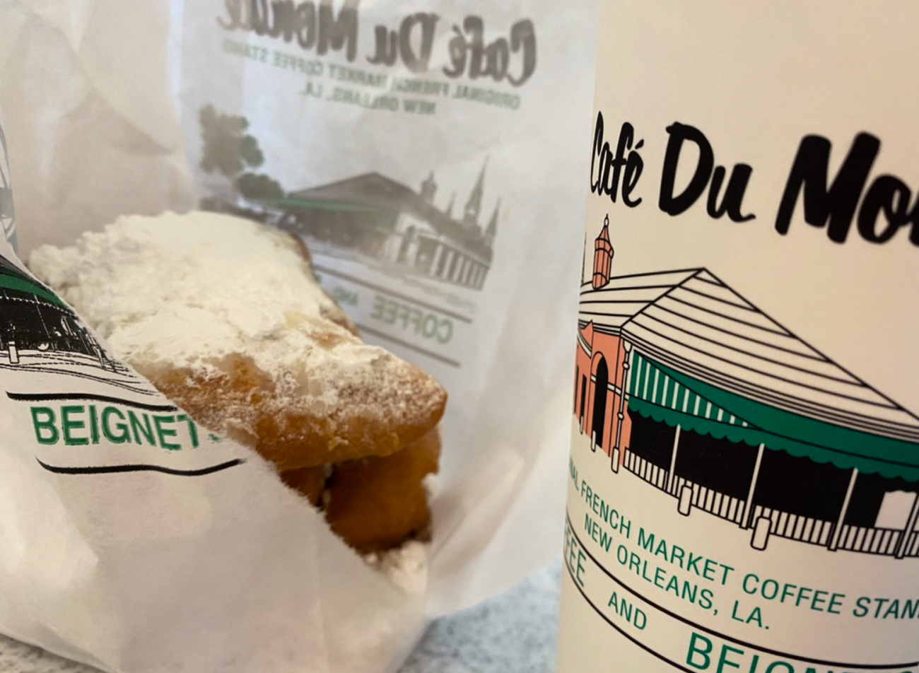 cafe du monde beignets in new orleans, a must see stop on a southeast us road trip.
