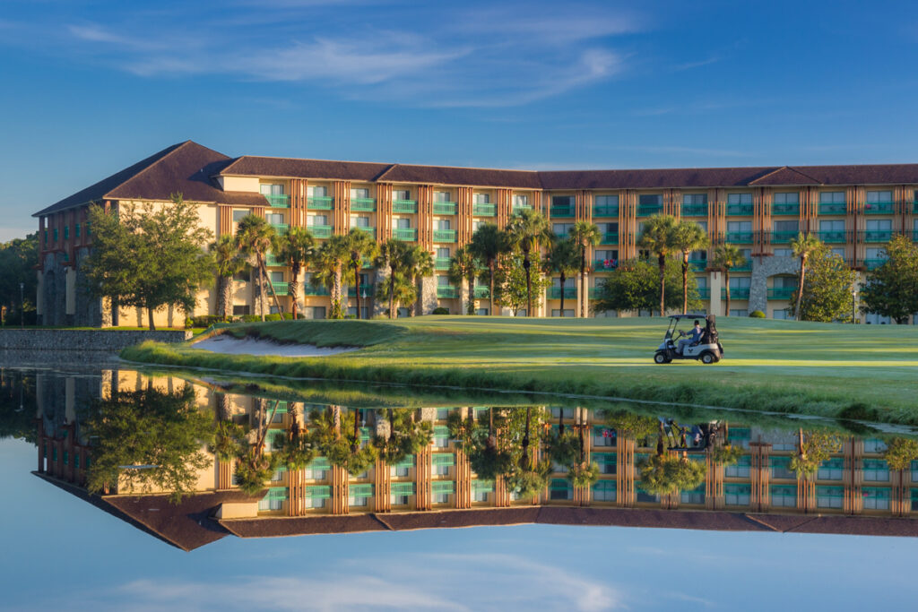 Facade of the Shades of Green resort at Disney World where military discounts are available