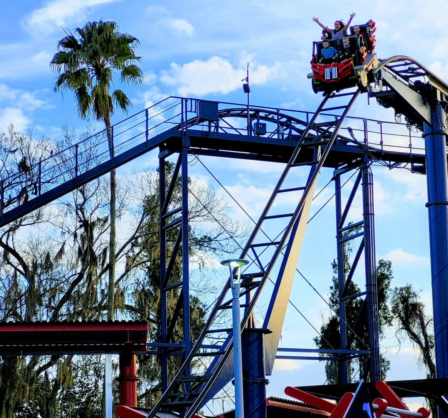 Roller coaster at LEGOLAND, a fun place to visit with teens and tweens