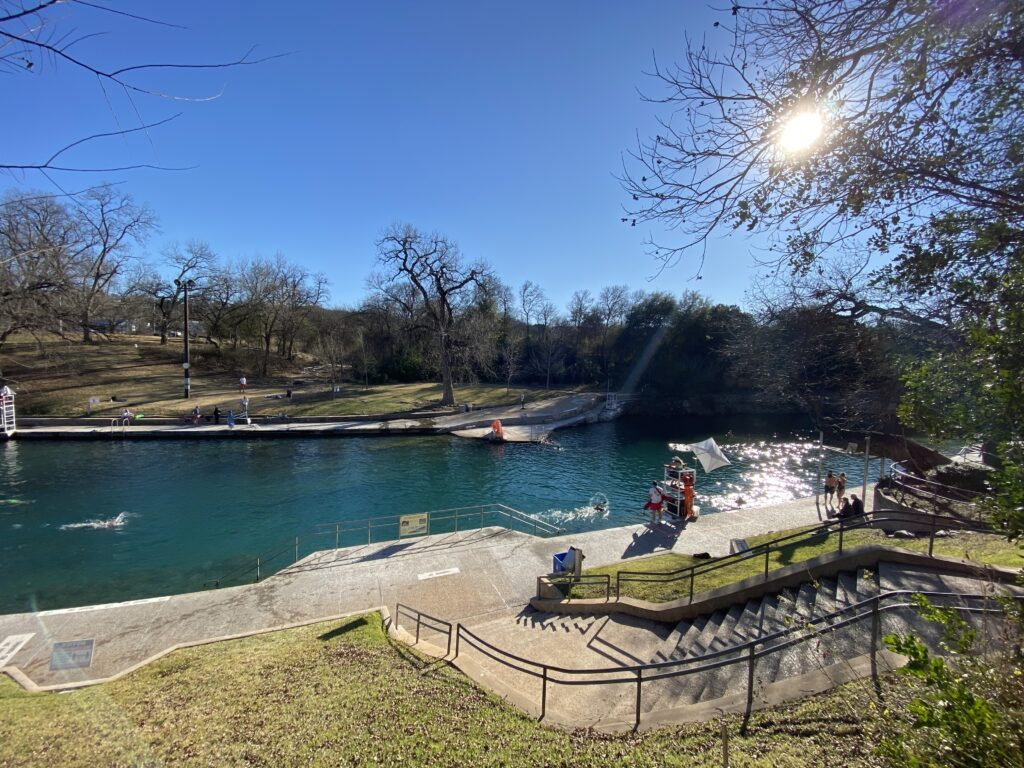 Barton Springs Pool, one of the best things to do in Austin with kids.