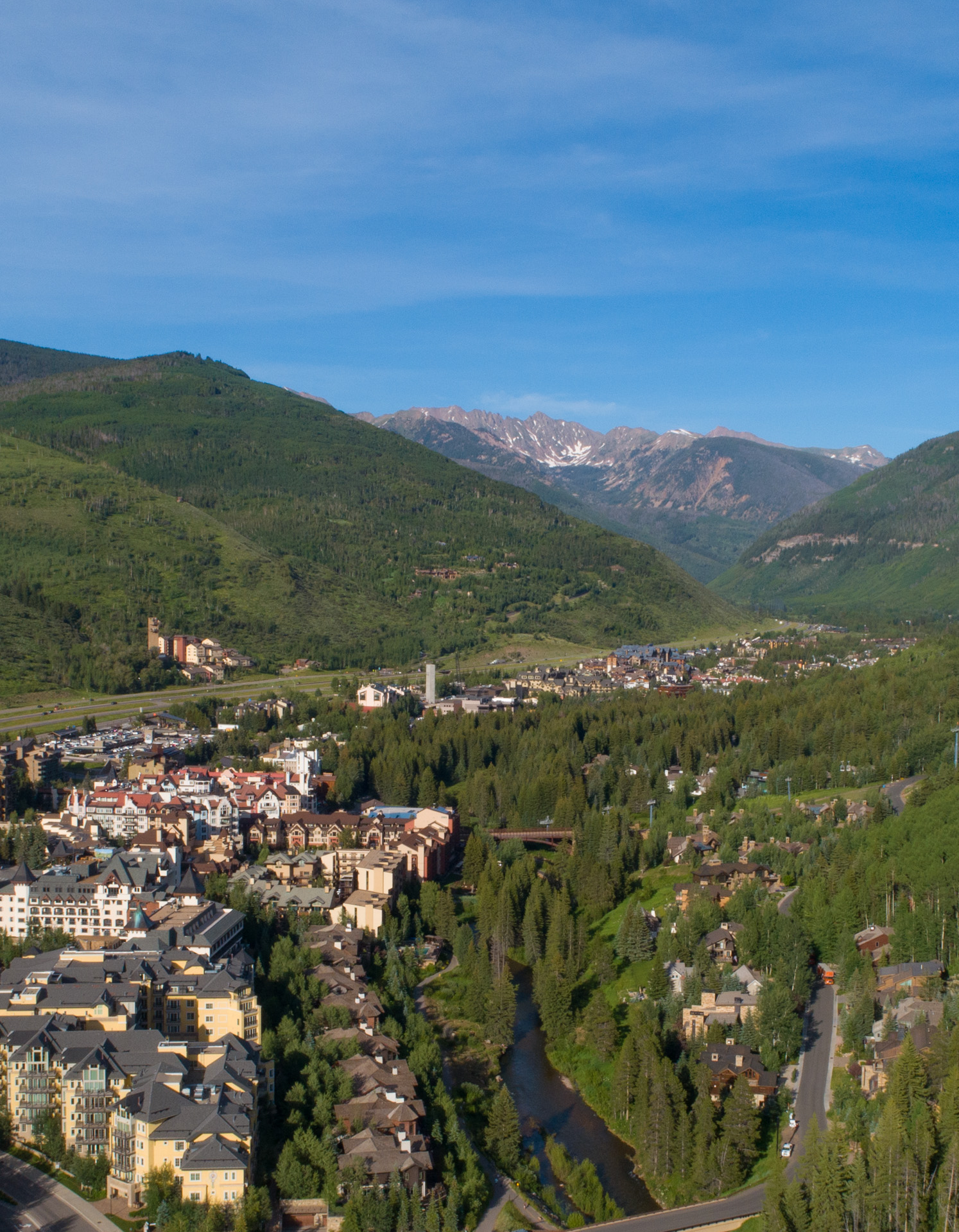 aerial view of Vail CO
