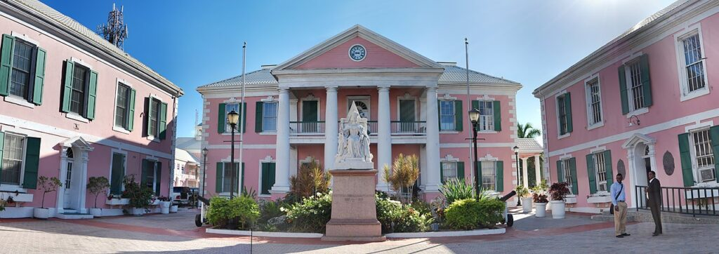 The beautiful pink buildings of Parliament Square in Nassau, Bahamas