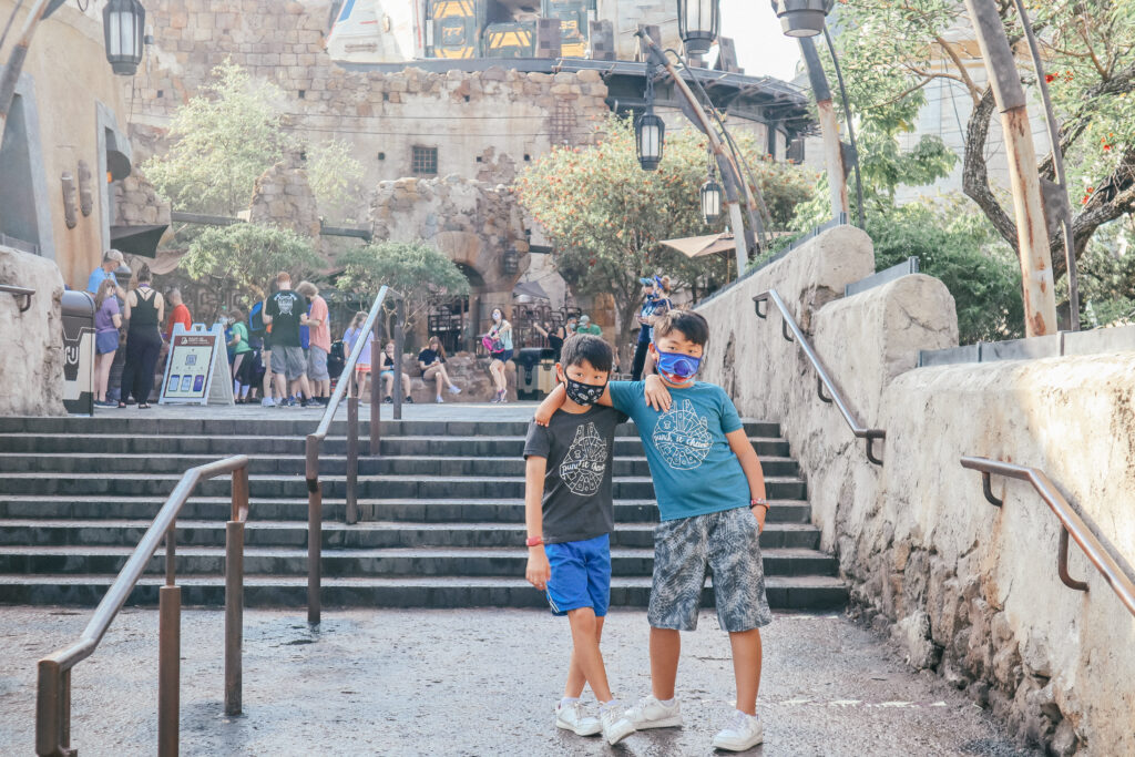 Two boys at Star Wars Galaxy's Edge