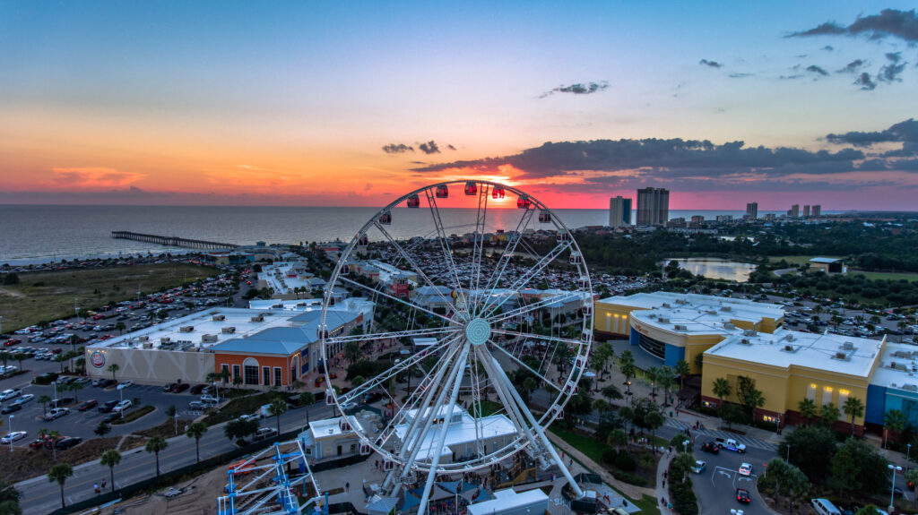 Pier Park Sky Wheel at sunset in Panama City Beach