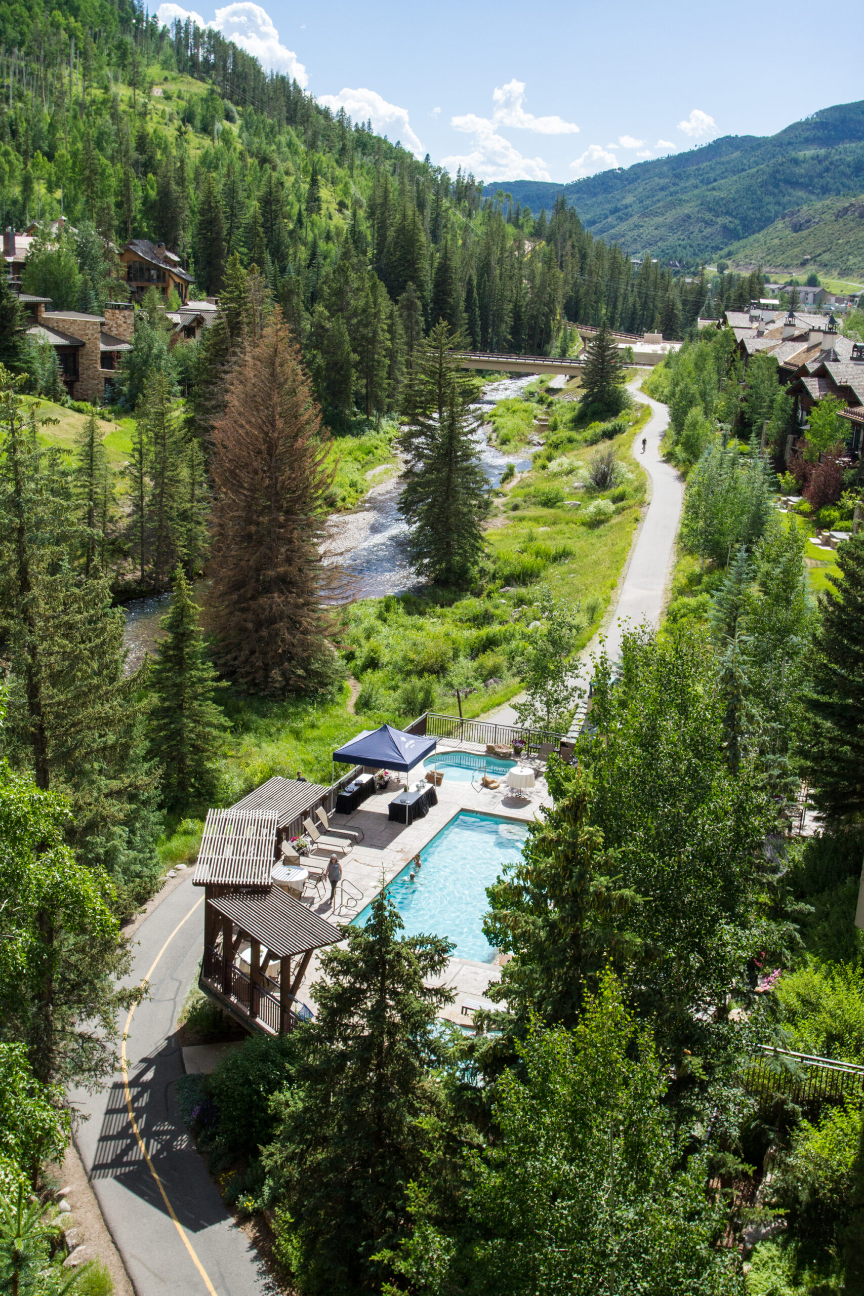 aerial view of a Vail CO pool