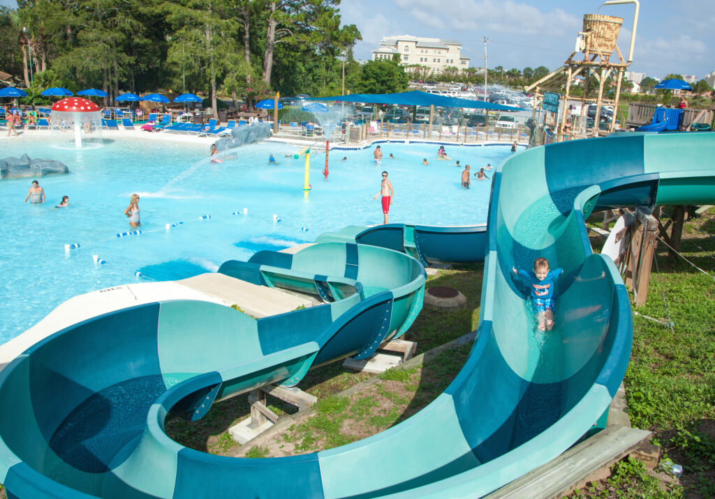 Shipwreck Island Waterpark racing slides, one of the fun things to do in Panama City Beach