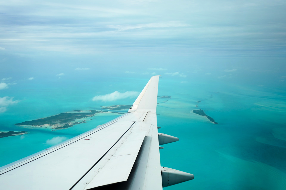 Aerial view of one of the Bahamas Out Island, Exuma.
